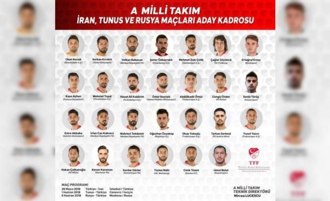 A Milli Takım'ın İran, Tunus ve Rusya kadrosu belli oldu