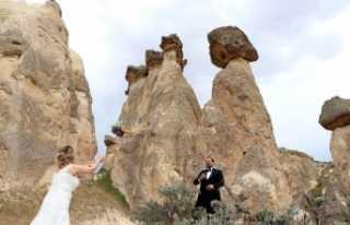 Gelin-damat fotoğrafları için Kapadokya'ya akın...